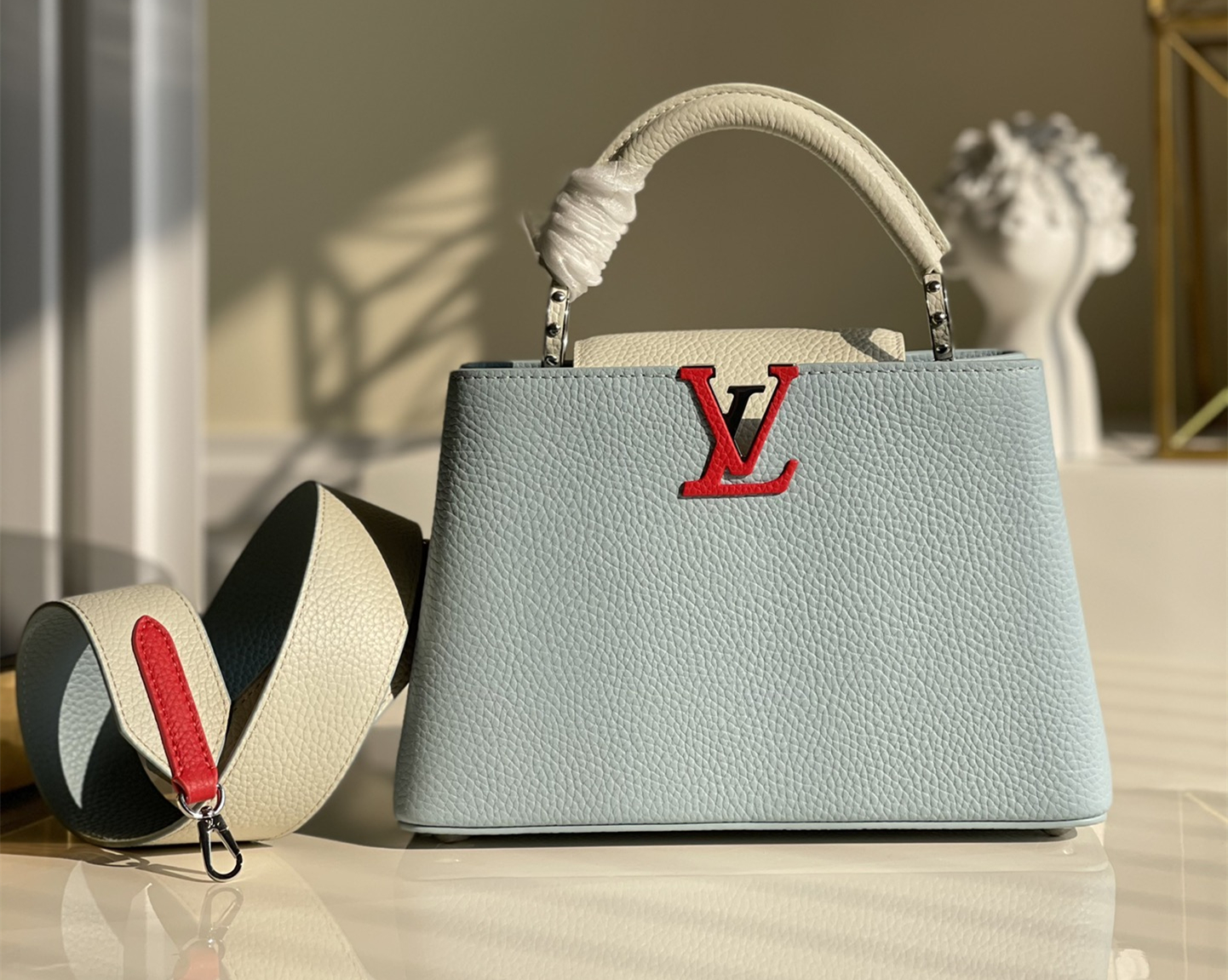Replica Louis Vuitton M548865 Capucines BB Handbag Olympe Blue Red White Taurillon Leather