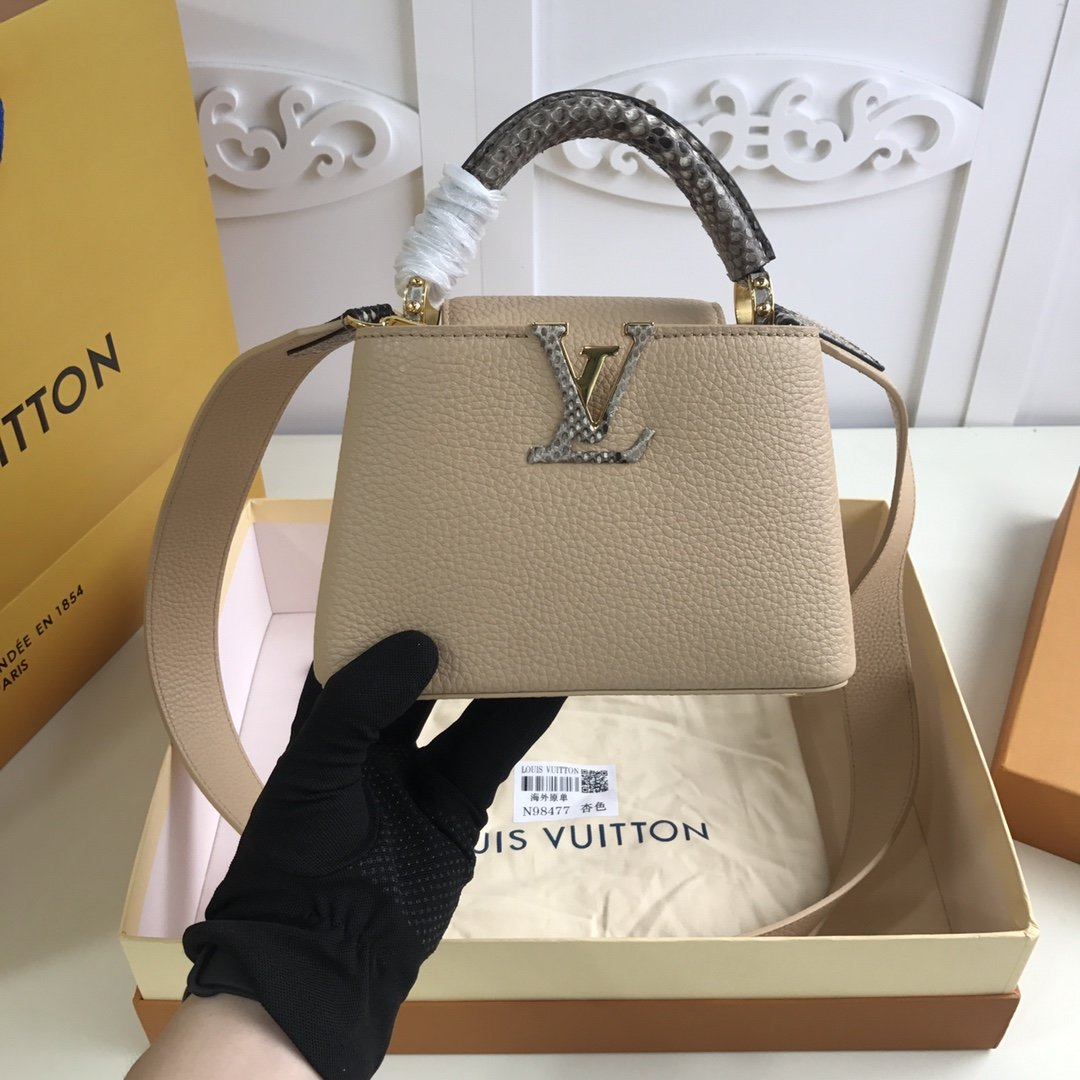 Replica Louis Vuitton M55923 Mini Capucines Taurillon Leather in Blue with Handle Wrapped in Natural Python Leather