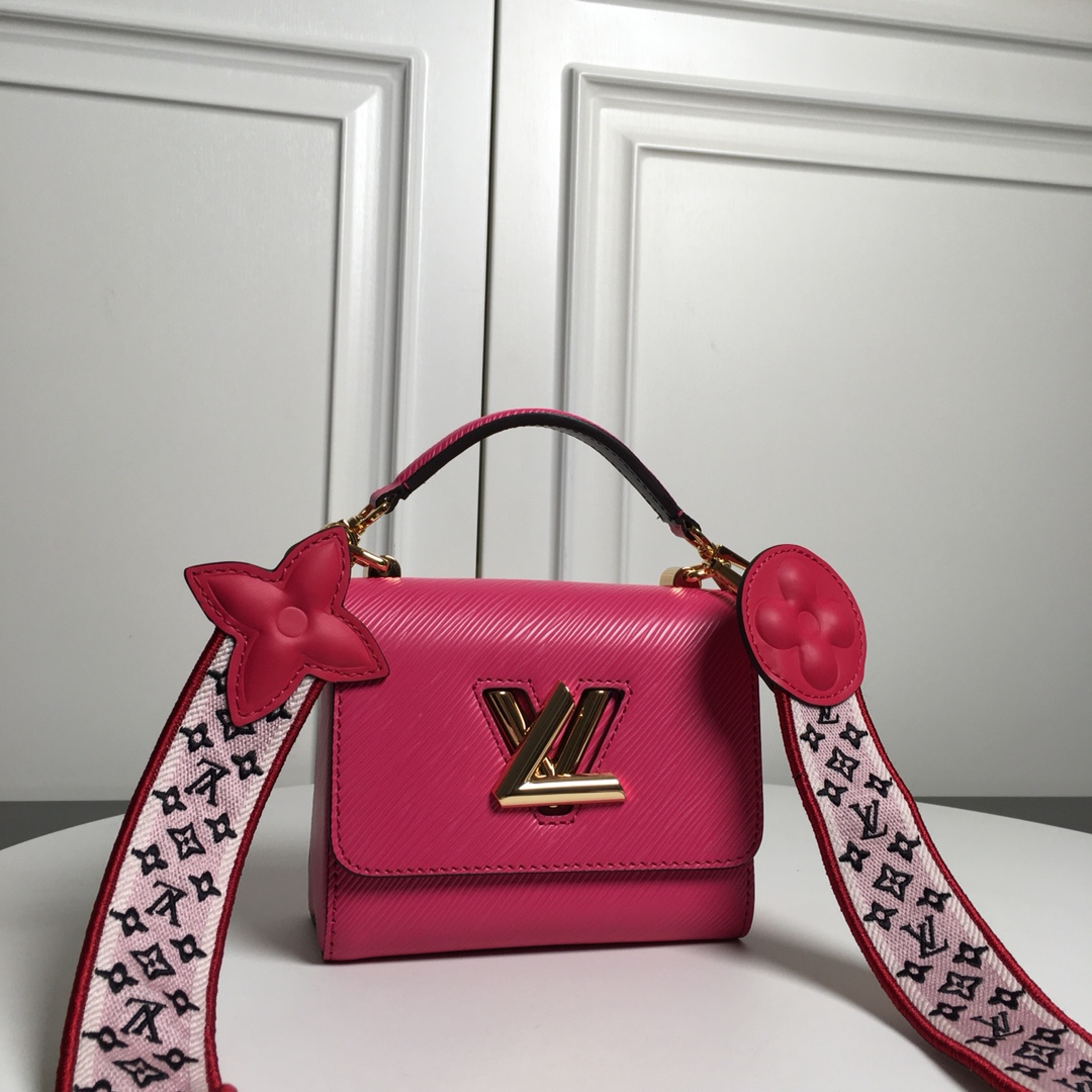 Replica Louis Vuitton M57049 Twist PM Epi Leather With Wide Embroidered Strap Agathe Rose Pink