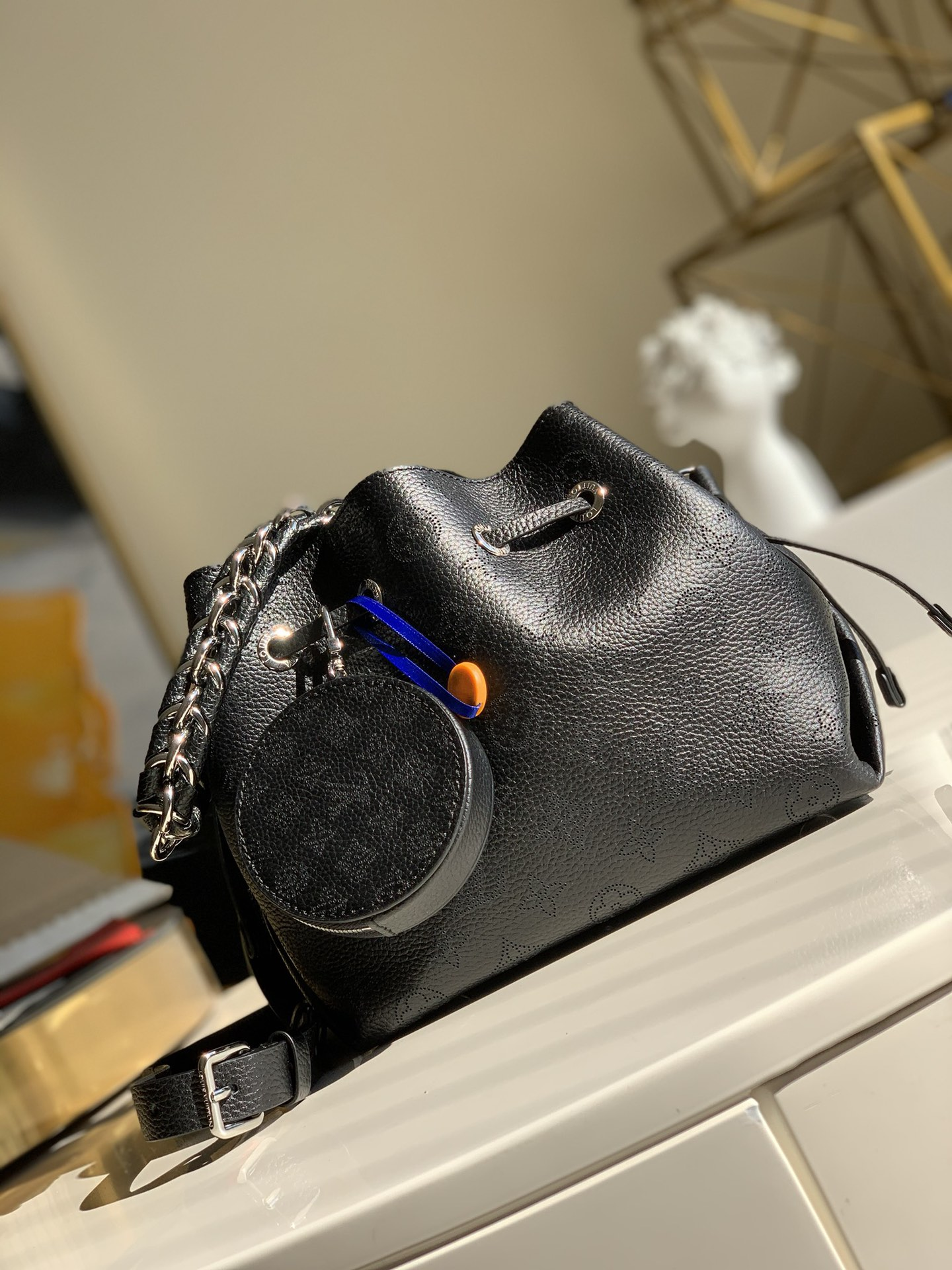 Replica Louis Vuitton M57070  Bella Bucket Bag in Mahina Calf Leather wite Perforated Monogram Pattern Black