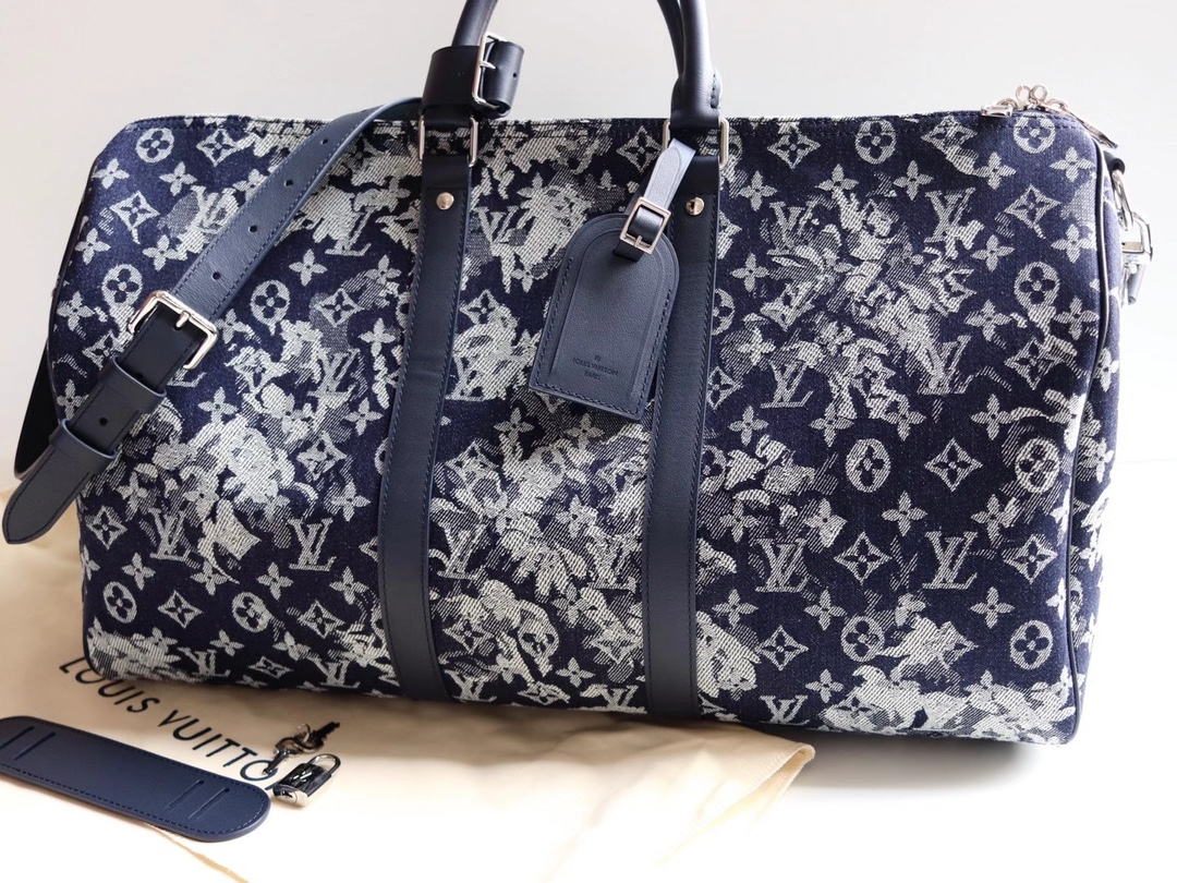 Replica Louis Vuitton M57285 Keepall Bandouliere 50 Monogram Tapestry Coated Canvas