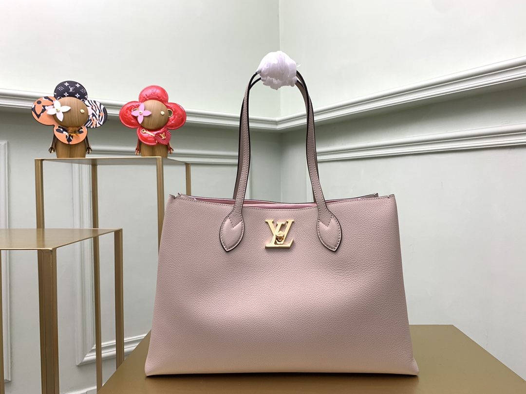 Replica Louis Vuitton M575346 Lockme Shopper Handbag in Supple Calf Leather Greige