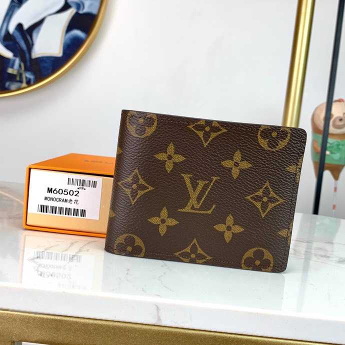 Replica Louis Vuitton M60895 Men Multiple Wallet Cowhide Leather and Canvas Lining Monogram Canvas