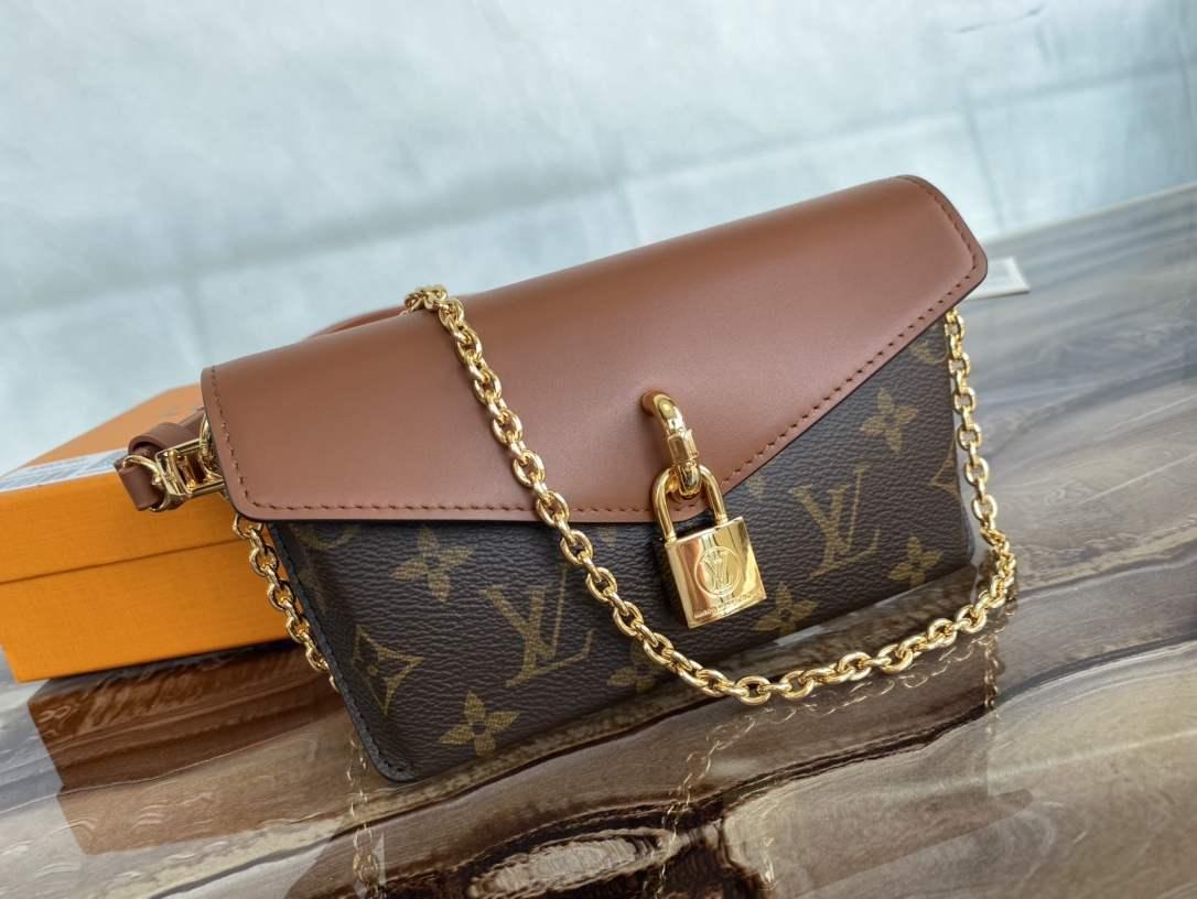 Replica Louis Vuitton M80763 Padlock On Strap Monogram Coated Canvas and Cowhide-Leather