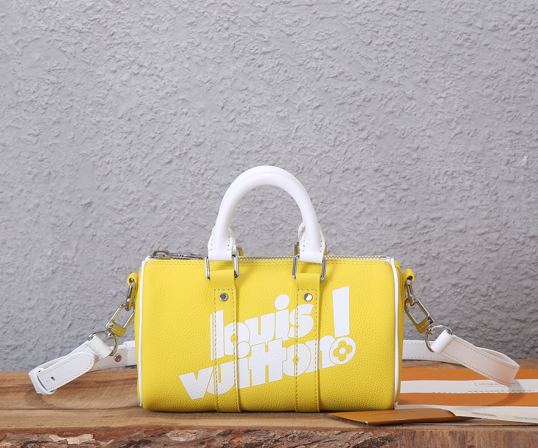 Replica Louis Vuitton M80842 KEEPALL XS Yellow Cowhide Leather
