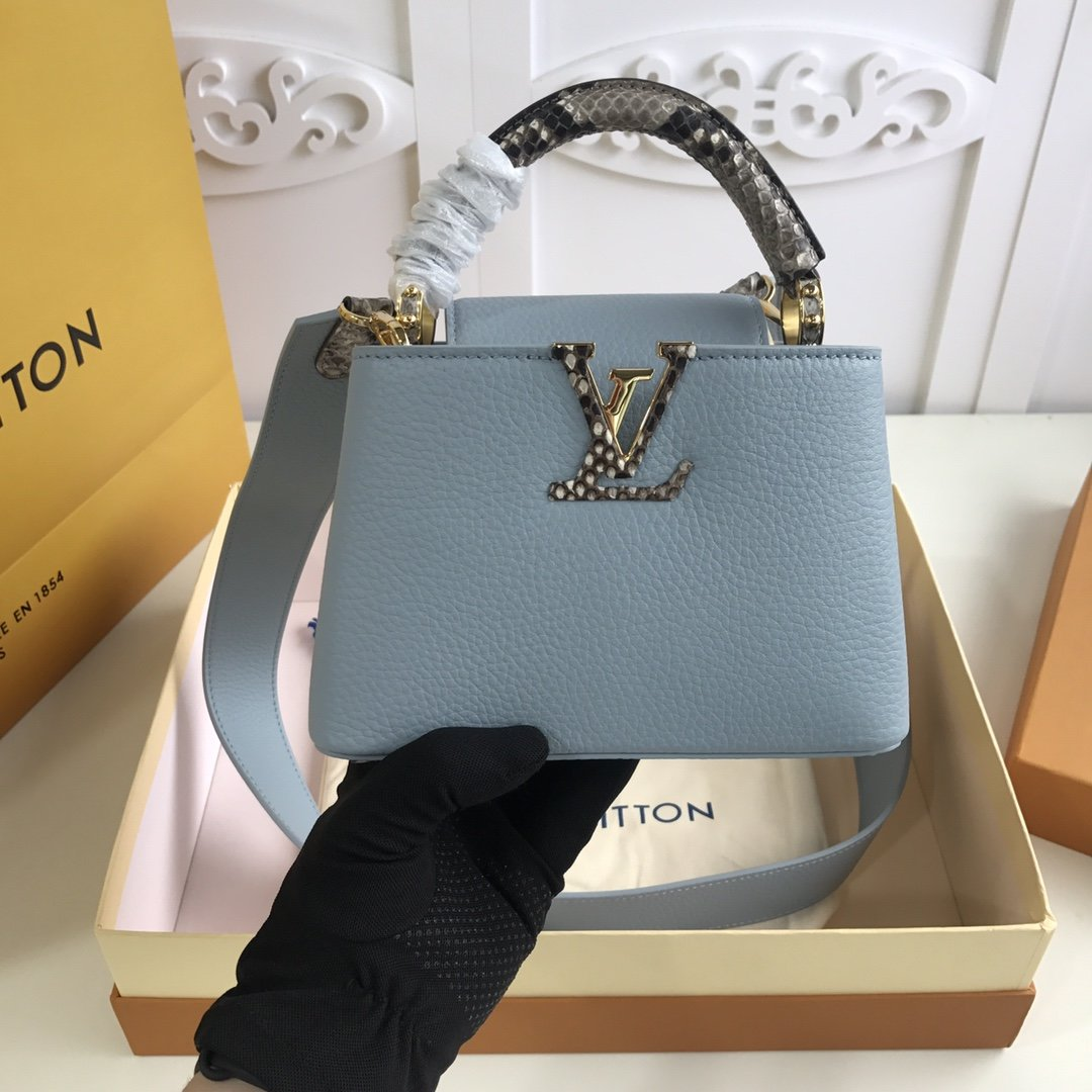 Replica Louis Vuitton M98477 Capucines Taurillon Leather in Blue with Handle Wrapped in Natural Python Leather