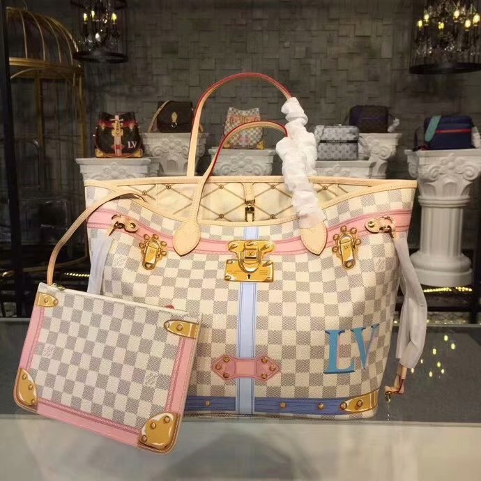 Replica Louis Vuitton N41065 Neverfull MM Printed Damier Azur Coated Canvas and Leather Patches