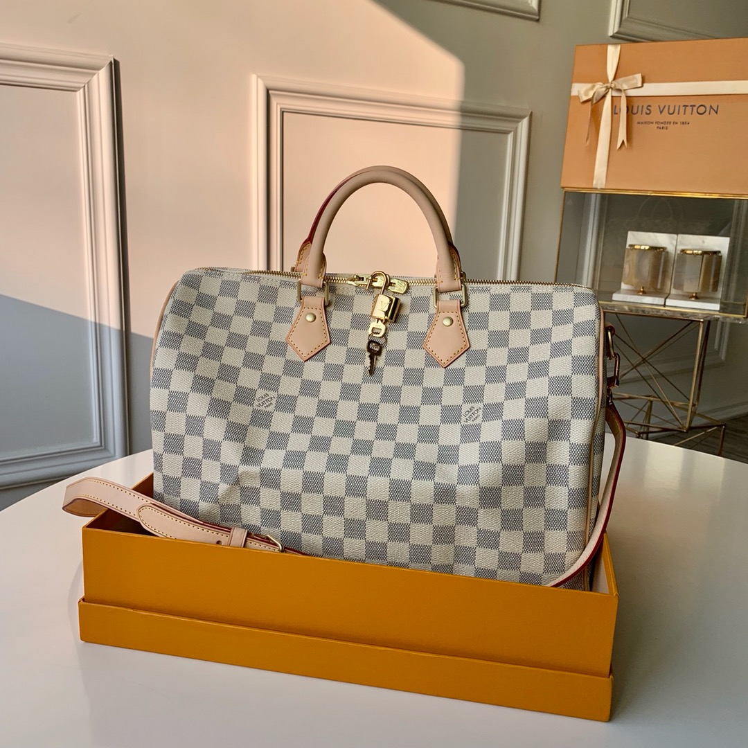 Replica Louis Vuitton N41369 Speedy 35 Damier Azur Coated Canvas