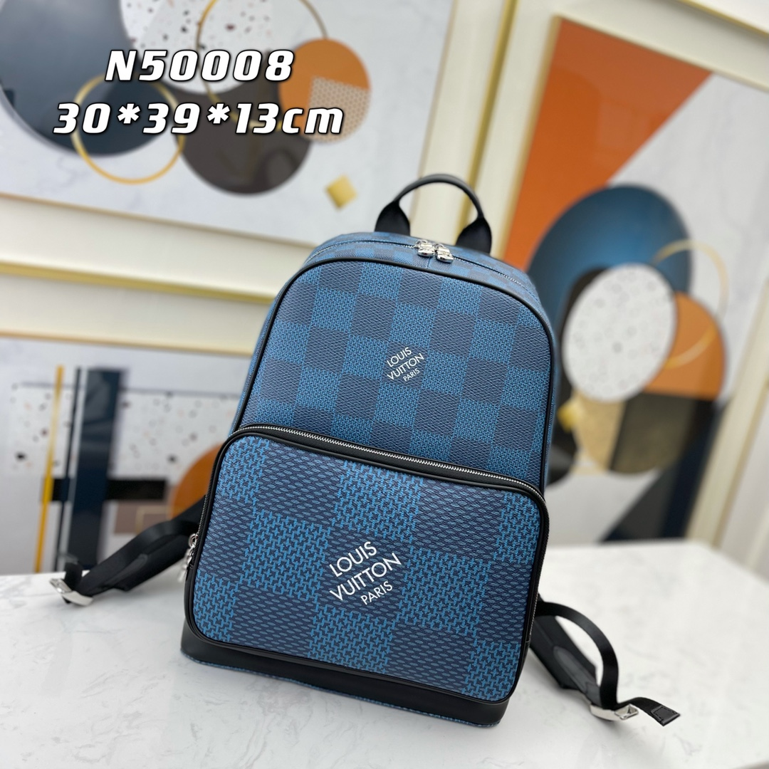Replica Louis Vuitton N50008 Mens Campus Backpack Navy Blue Damier Graphite 3D Coated Canvas