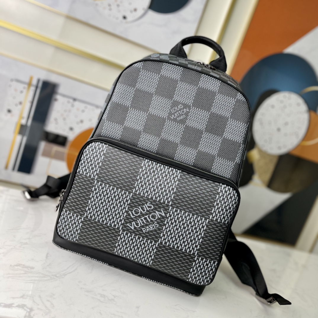 Replica Louis Vuitton N50009 Mens Campus Backpack Gray Damier Graphite 3D Coated Canvas