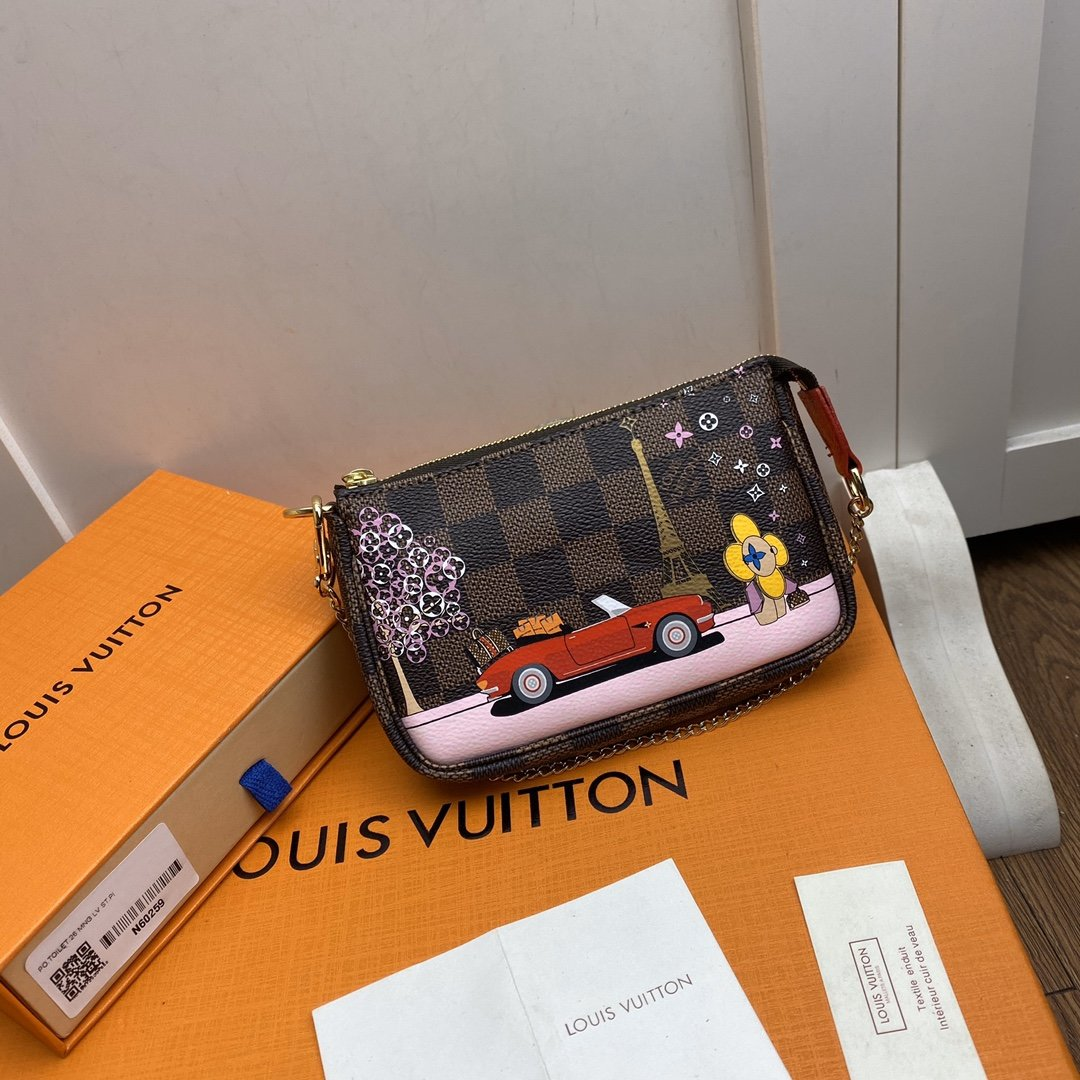 Replica Louis Vuitton N60259 Mini Pochette Accessoires Damier Ebene Coated Canvas