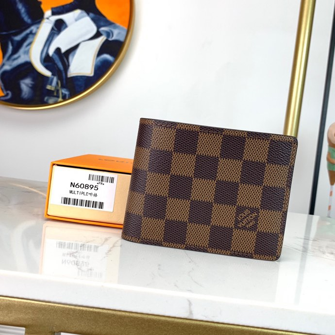 Replica Louis Vuitton N60895 Men Multiple Wallet Cowhide Leather and Canvas lining Coated Canvas