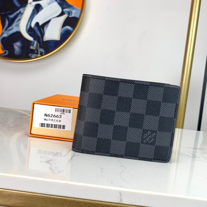 Replica Louis Vuitton N62663 Men Multiple Wallet Cowhide Leather and Canvas lining