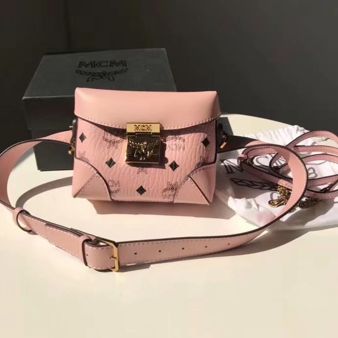 Replica MCM Soft Berlin Belt Bag in Pink