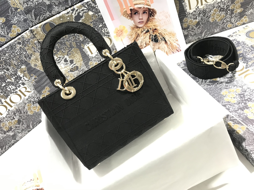 Replica Medium Lady D-Lite Bag Black Cannage Embroidery