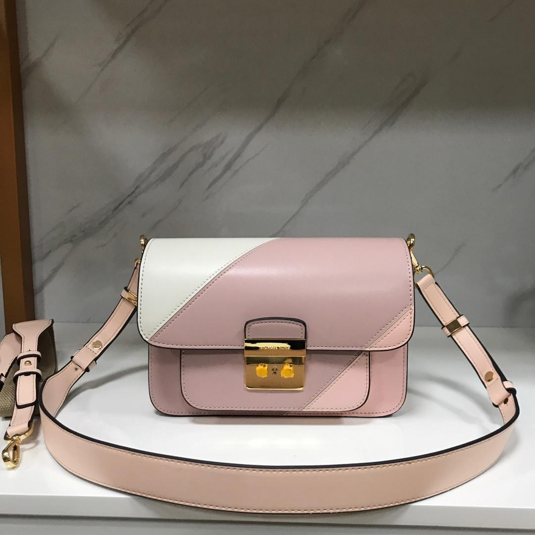 Replica Michael Kors Sloan Editor Large Leather Shoulder Bag White Pink