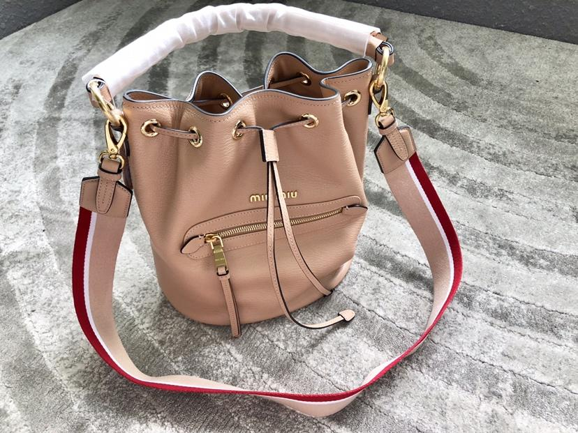 Replica MiuMiu 5BE027 Women Leather Bucket Bag Beige