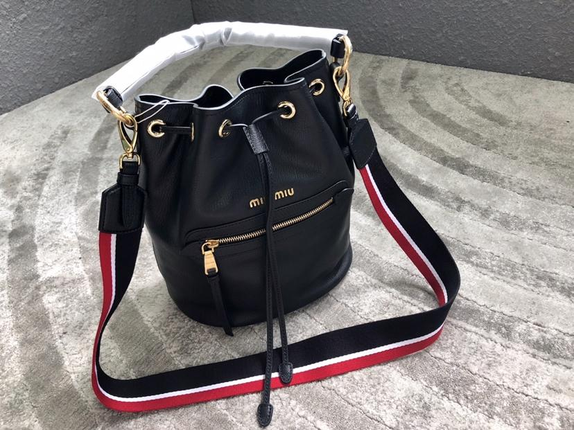 Replica MiuMiu 5BE027 Women Leather Bucket Bag Black