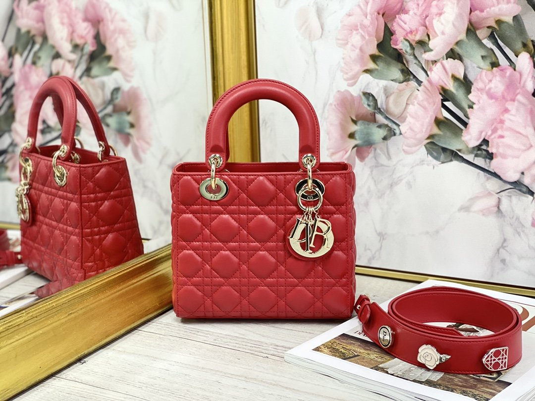 Replica My ABCDior Lady Dior Dioramour Bag Red Cannage Lambskin With Gold
