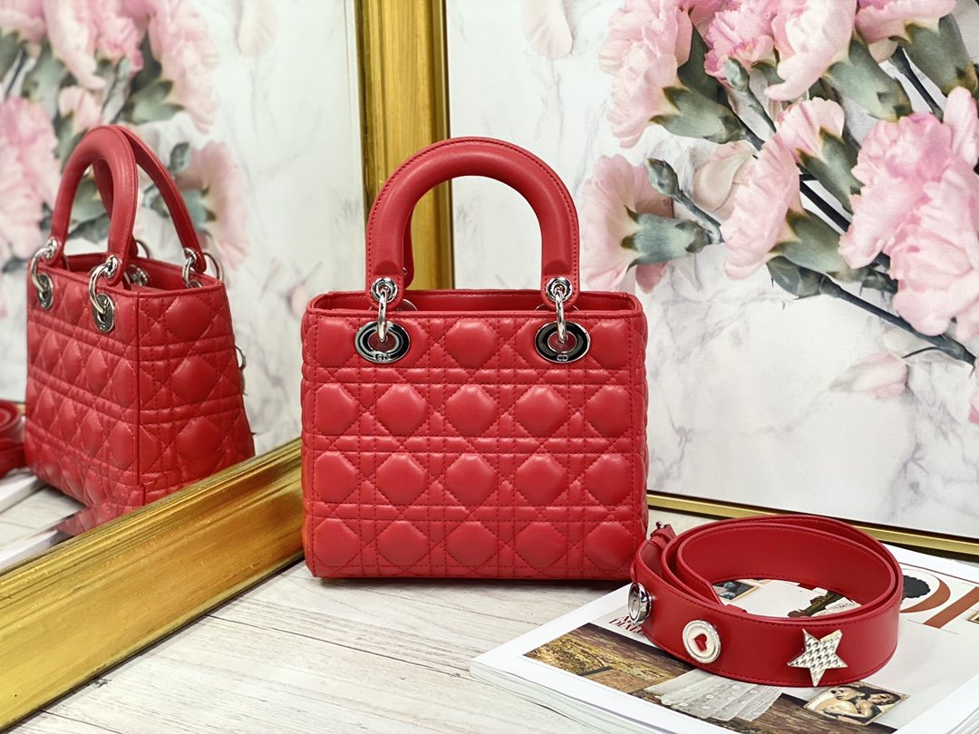 Replica My ABCDior Lady Dior Dioramour Bag Red Cannage Lambskin With Sliver