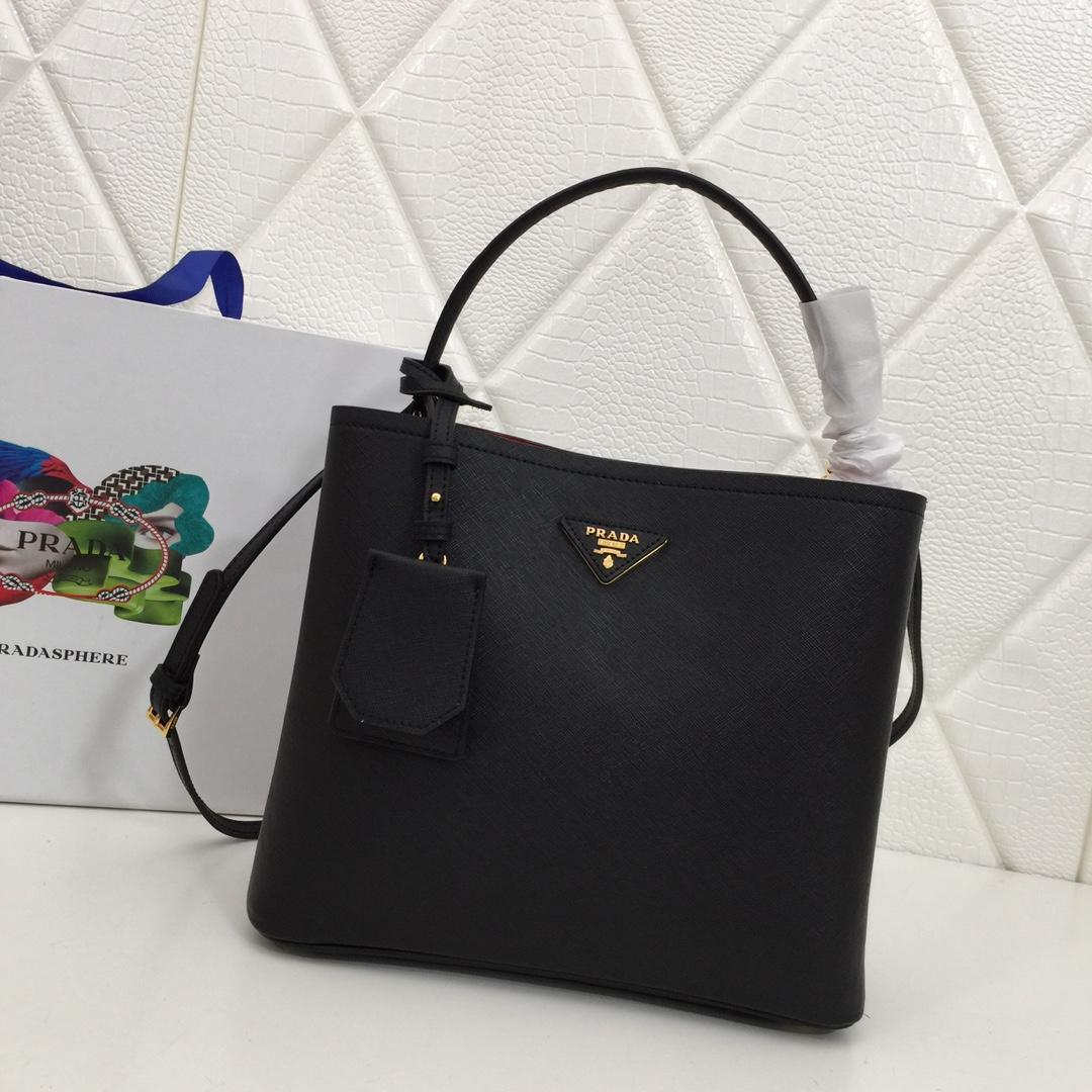 Replica Prada 1BA212 Double Medium Bag Saffiano Leather Black