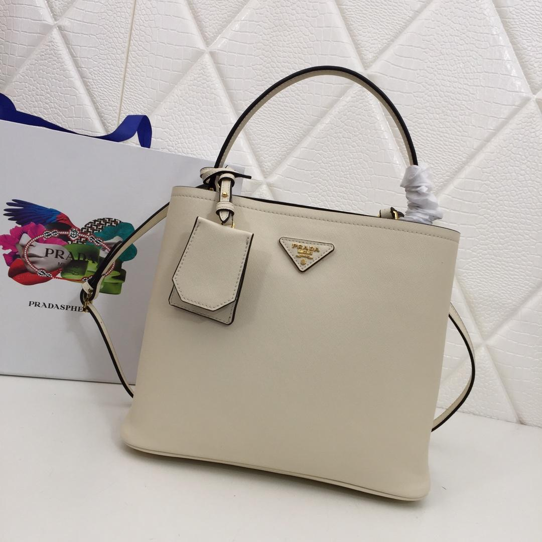 Replica Prada 1BA212 Double Medium Bag Saffiano Leather White