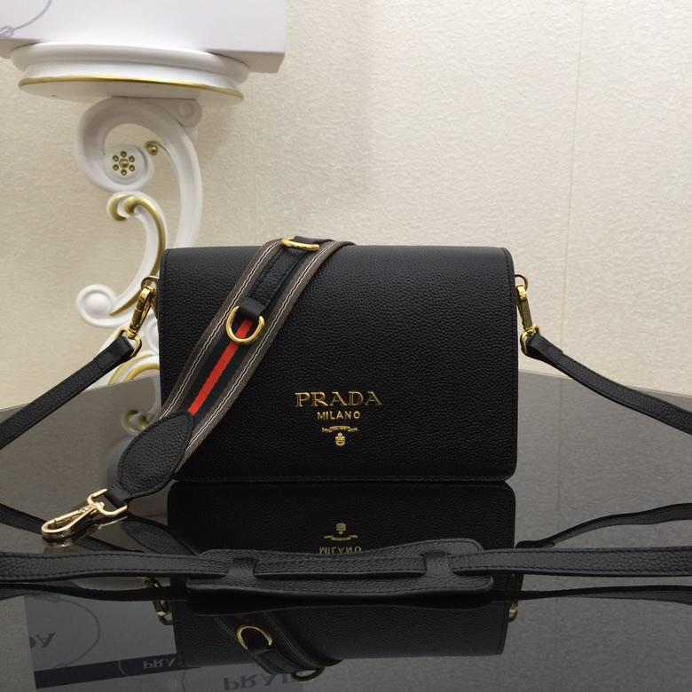 Replica Prada 1BD102 Calf Leather Women Shoulder Bag Black