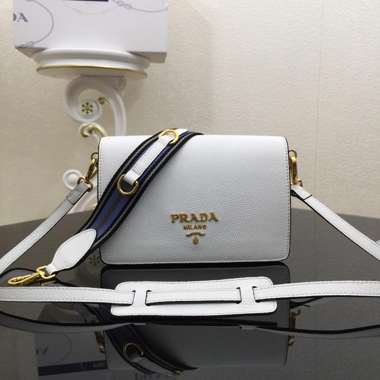 Replica Prada 1BD102 Calf Leather Women Shoulder Bag White