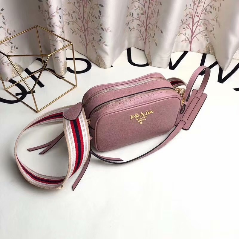 Replica Prada 1BH082 Calf Leather Women Shoulder Bag Pink