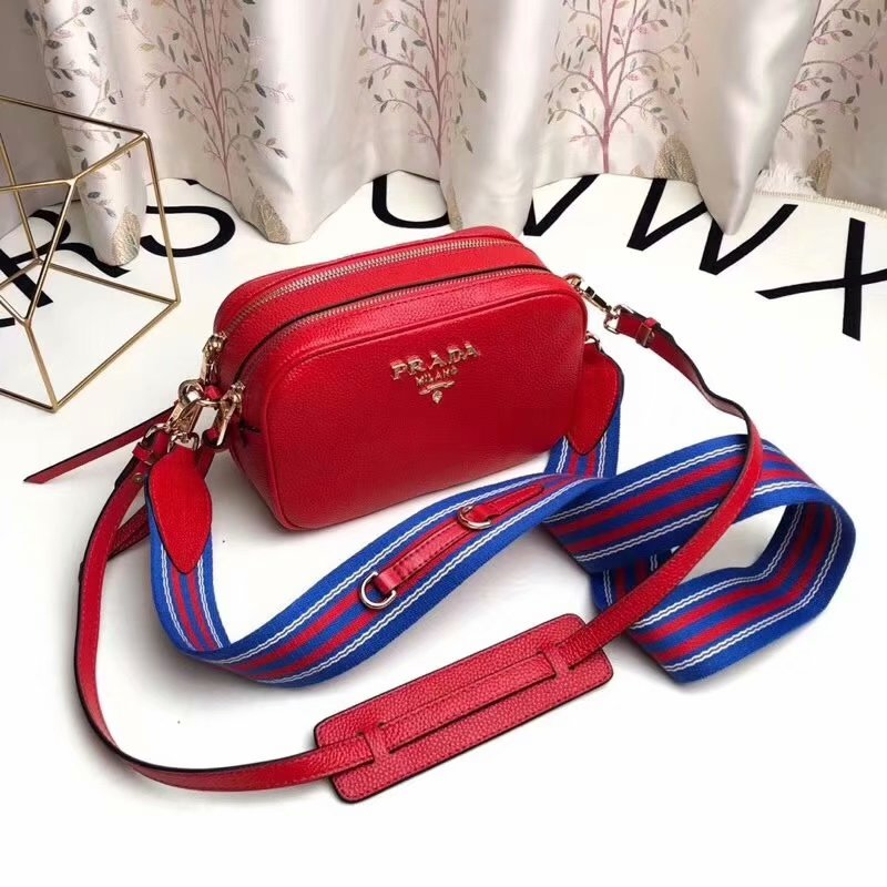 Replica Prada 1BH082 Calf Leather Women Shoulder Bag Red