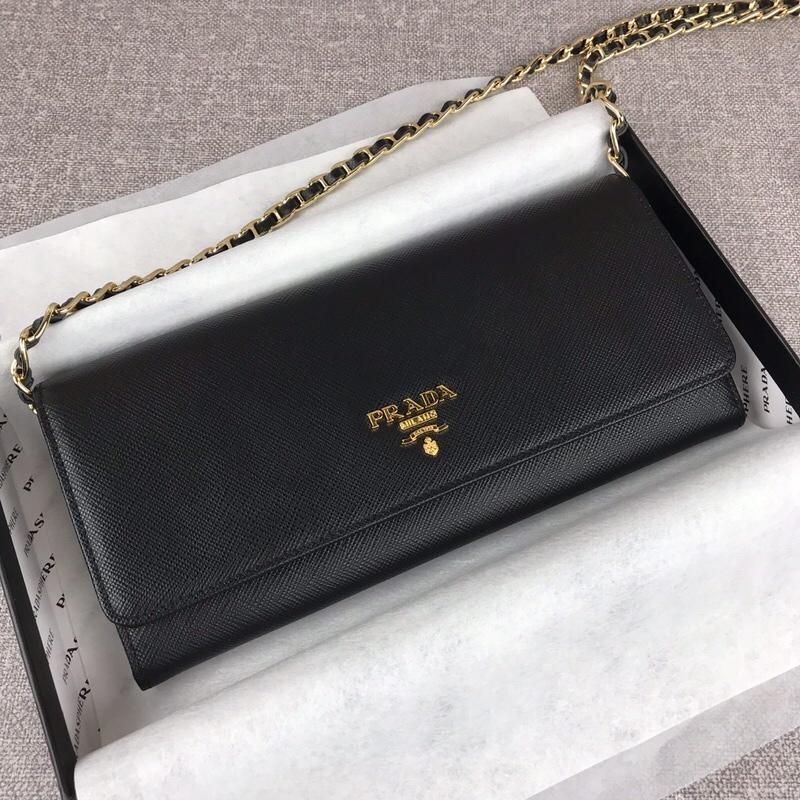 Replica Prada 1M1290 Saffiano Women Wallet with Chain Black