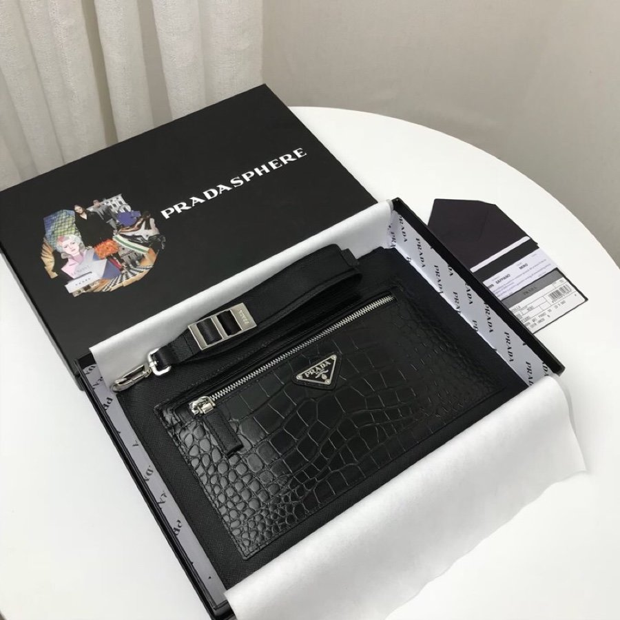 Replica Prada 2NH009 Men Crocodile Grain Saffiano Leather Pouch Black