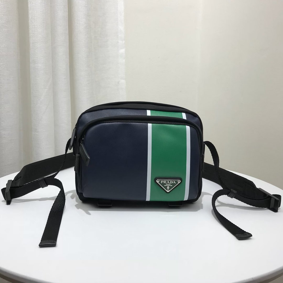 Replica Prada 2VH043 Men Technical Fabric and Leather Bandoleer Bag Blue