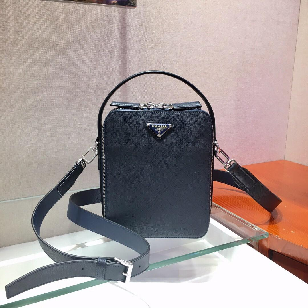 Replica Prada Men Saffiano Leather Backpack Blue 2VZ036