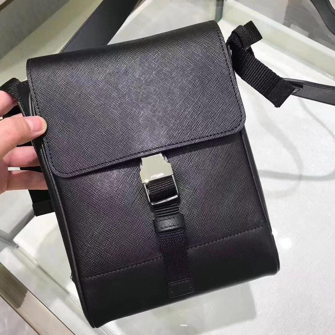 Replica Prada Men Saffiano Leather Shoulder Bag Black 2VD019