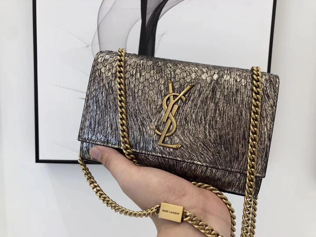 Replica Saint Laurent Kate Snake Skin Leather With Gold Hardware 20cm