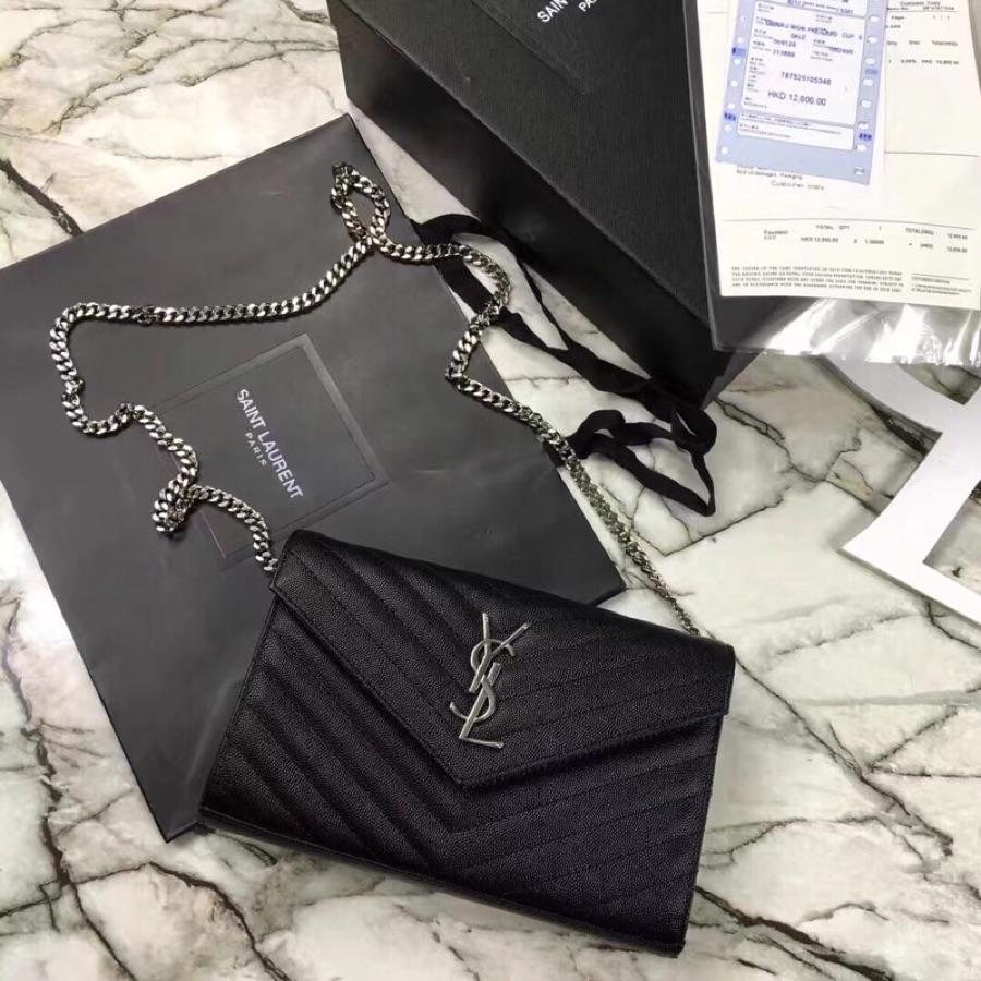 Replica Saint Laurent Monogram Chain Wallet In Grain De Poudre Embossed Leather Black With Silver LOGO