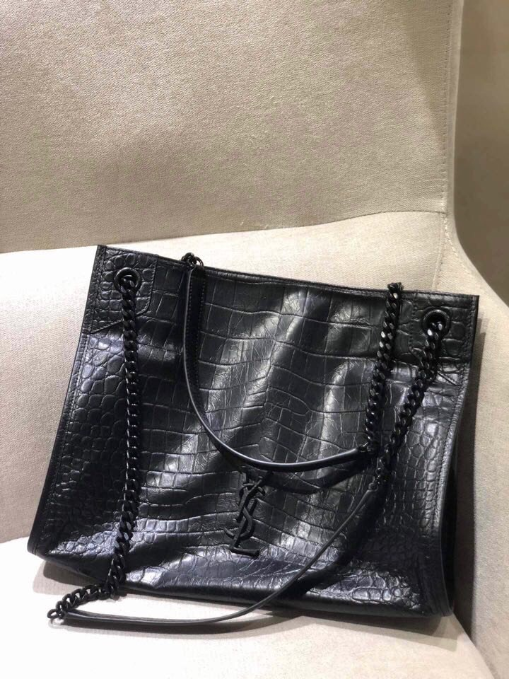 Replica Saint Laurent NIKI medium shopping bag in crocodile-embossed leather Black