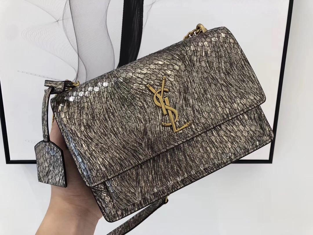 Replica Saint Laurent Sunset Snake Skin Leather With Gold Hardware 20cm