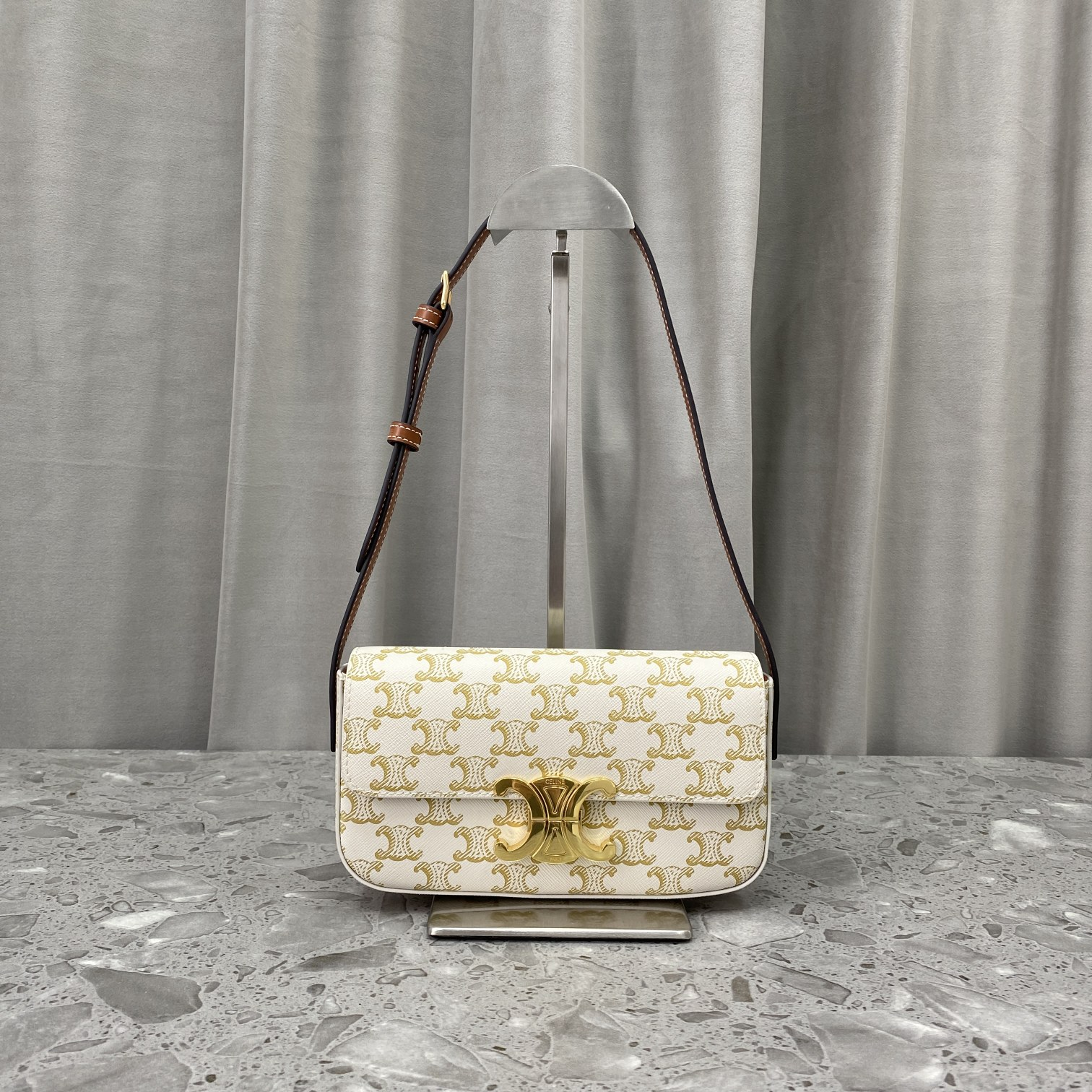 Replica Triomphe Shoulder Bag In Triomphe Canvas And Calfskin White
