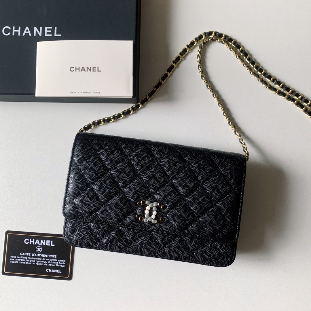 Top Quality AP2021 Chanel Woc Wallet On Chain Caviar Leather Black