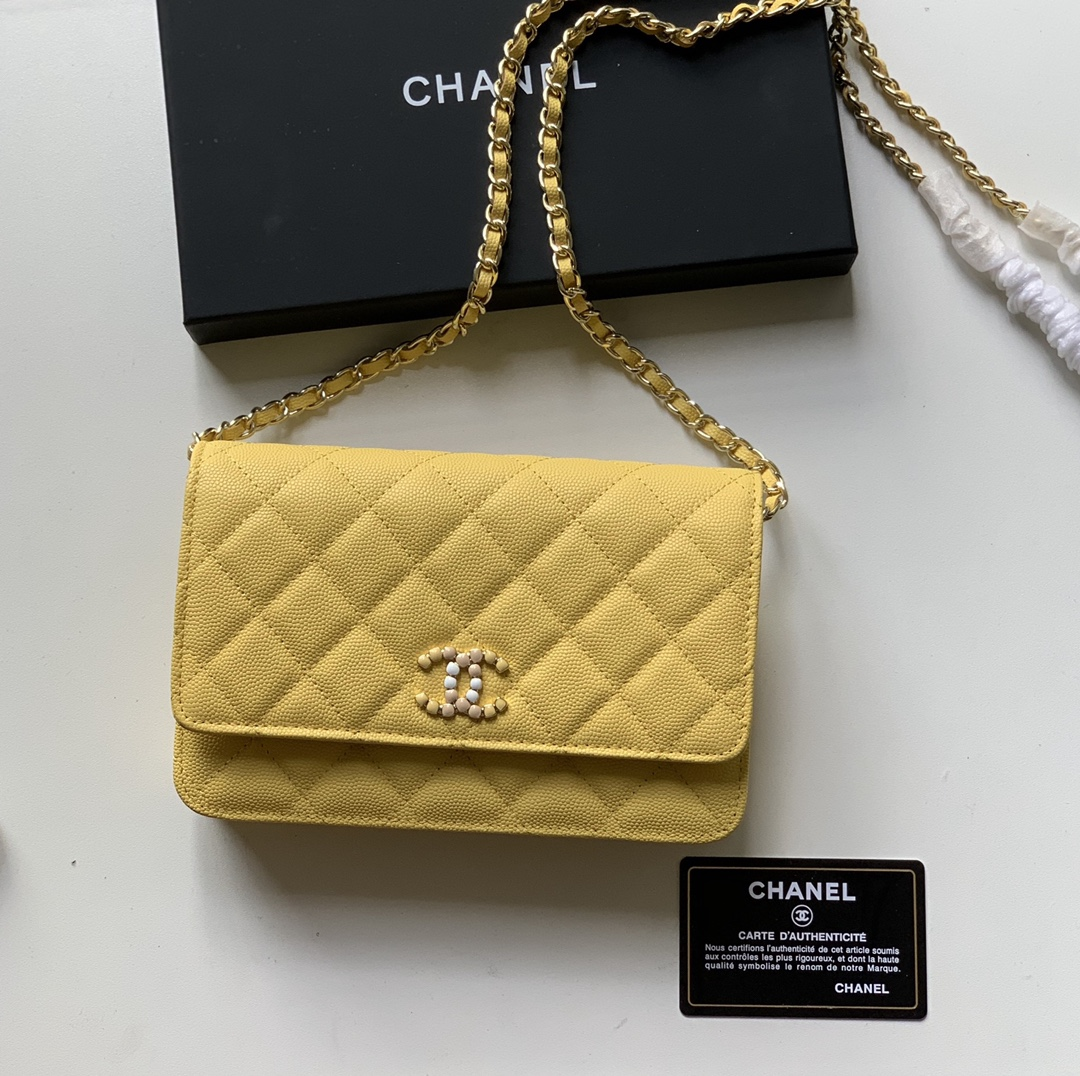 Top Quality AP2021 Chanel Woc Wallet On Chain Caviar Leather Yellow