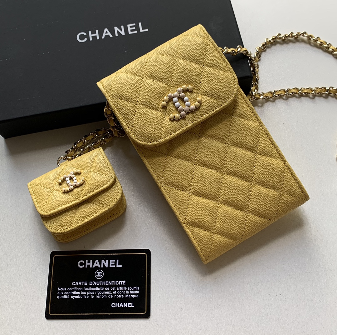 Top Quality AP2023 Chanel Chanel Phone Bag Caviar Leather Yellow