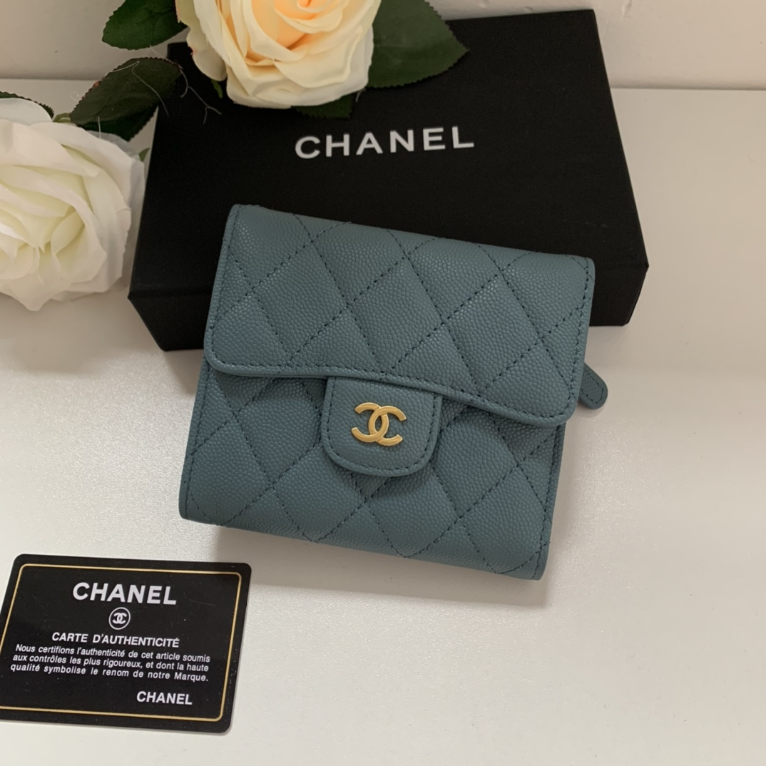 Top Quality Chaenl 82288 Classic Small Flap Wallet Blue With Gold