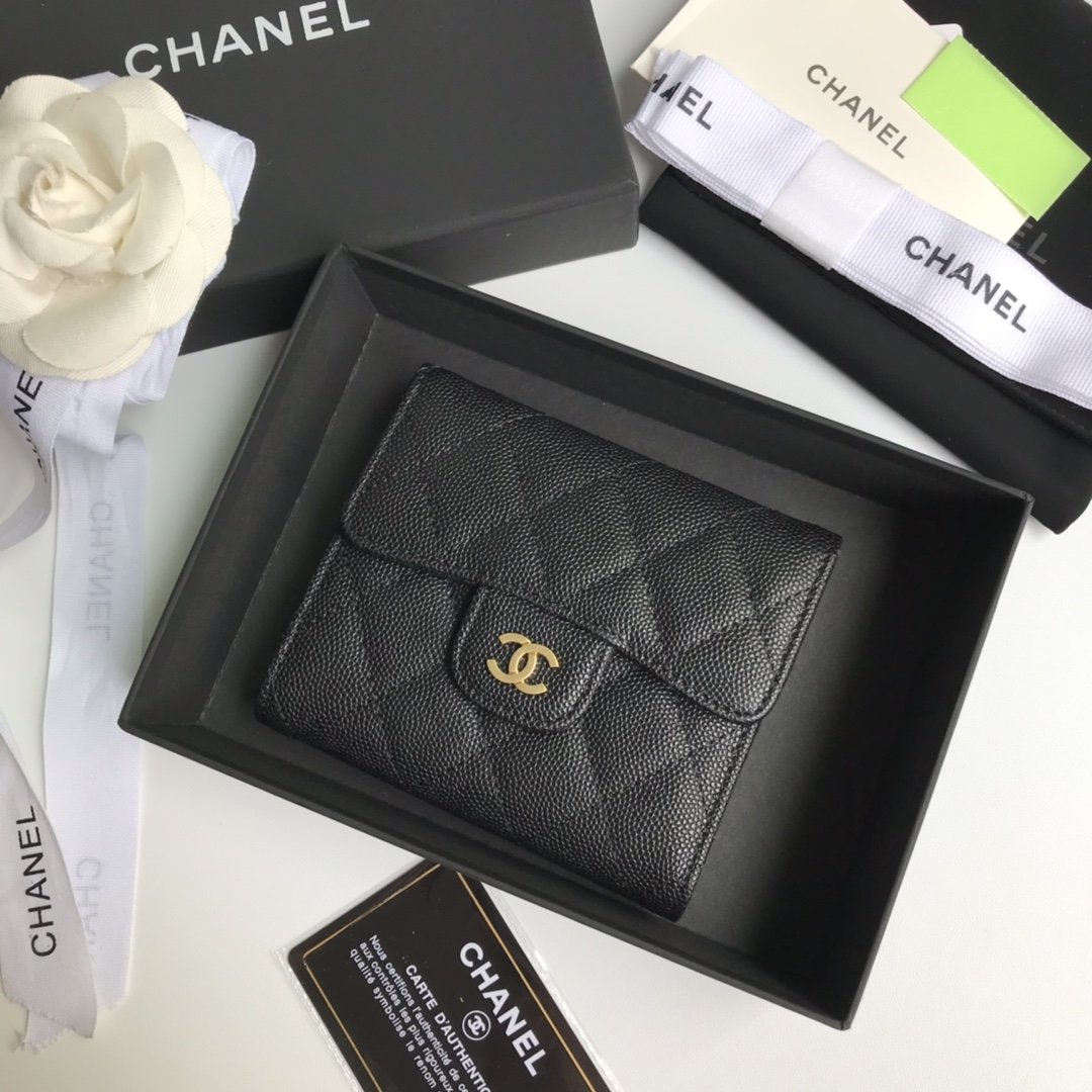 Top Quality Chaenl AP0230 Classic Small Flap Wallet Black