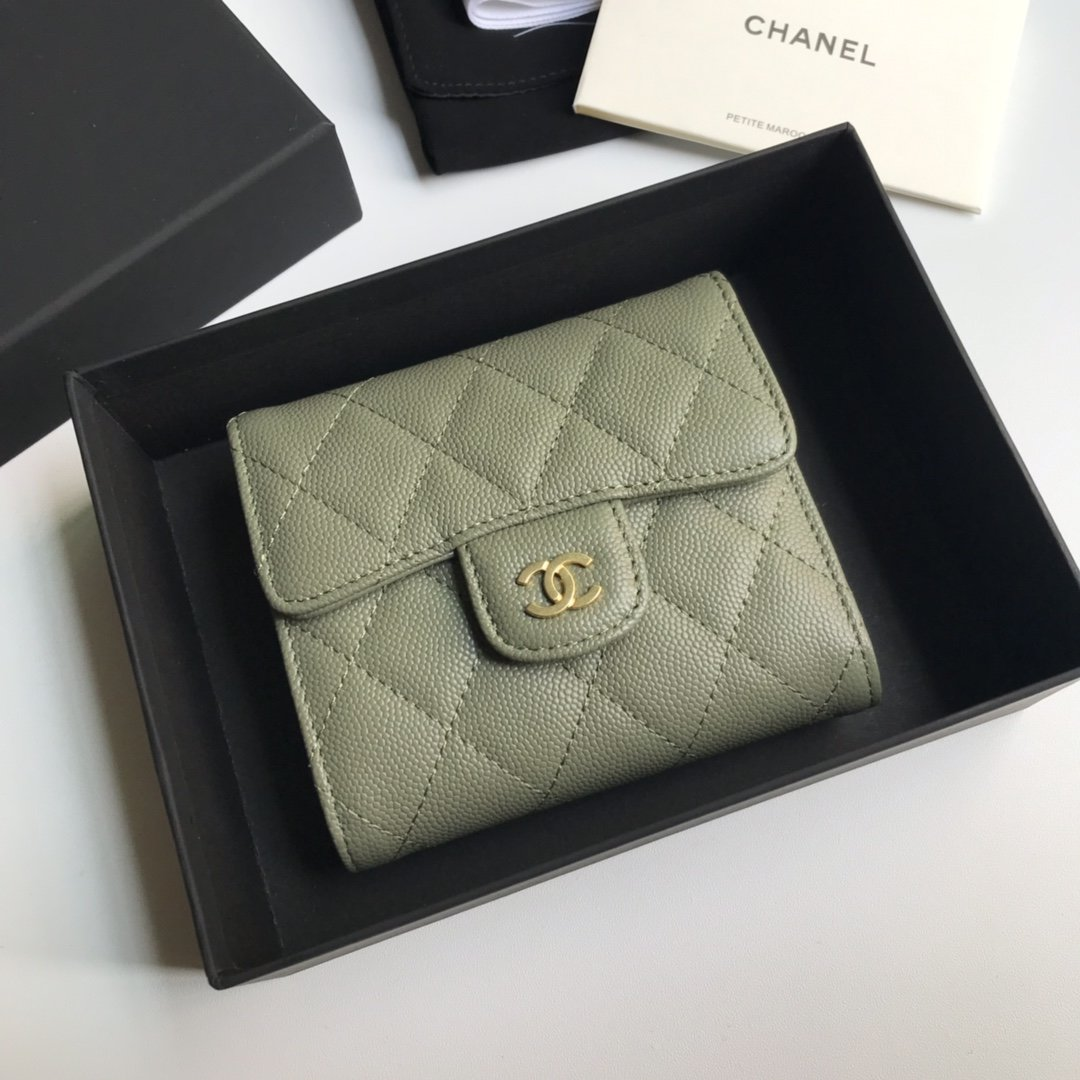 Top Quality Chaenl AP0230 Classic Small Flap Wallet Green