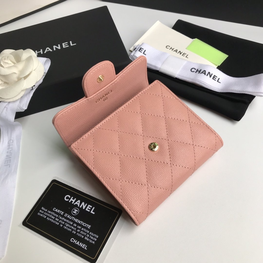 Top Quality Chaenl AP0230 Classic Small Flap Wallet Pink