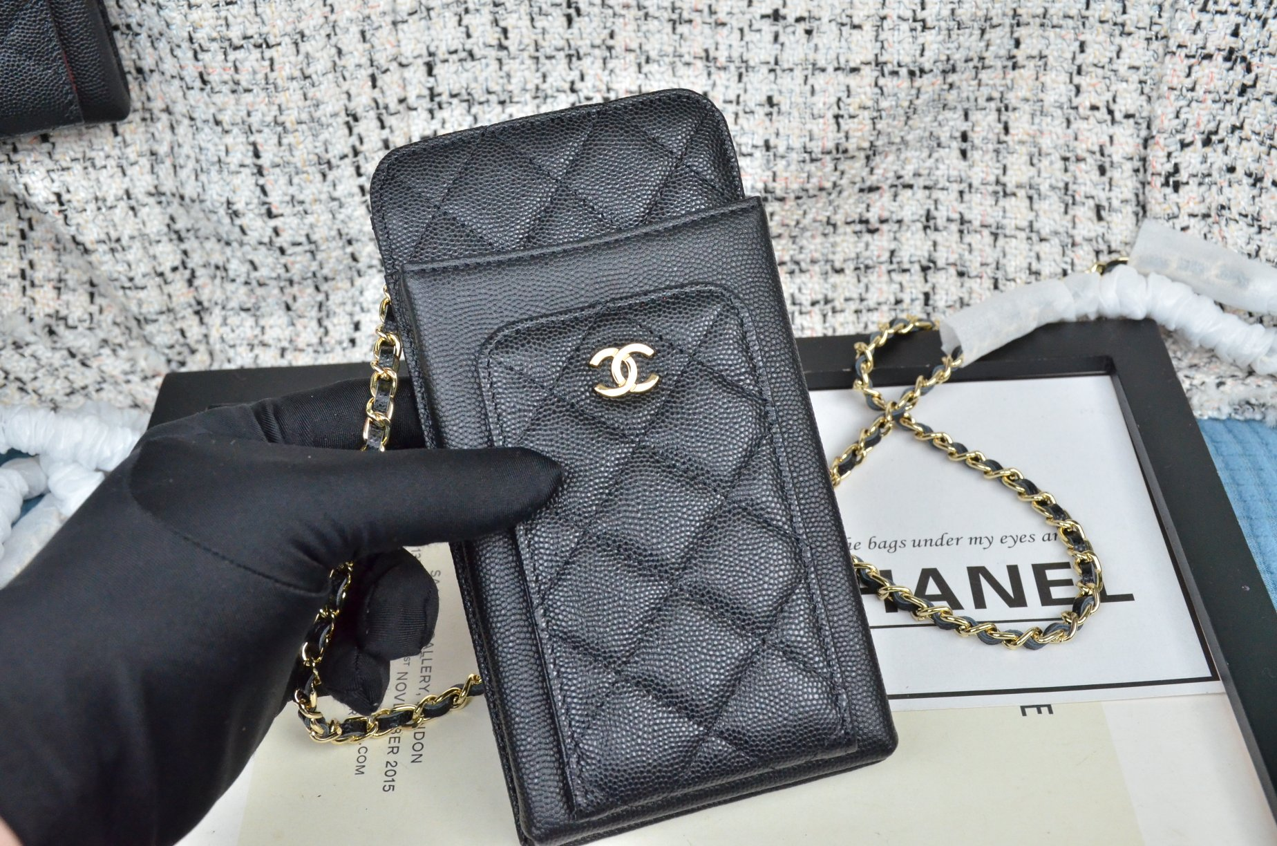 Top Quality Chanel Ohane Phone Shoulder Bag with Gold-Tone Metal 001