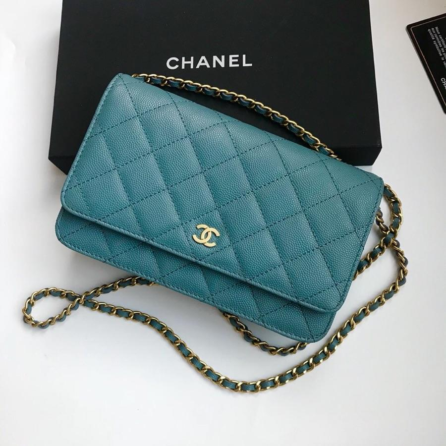 Top Quality Chanel Woc Wallet On Chain Iridescent Grained Lambskin Gold-Tone Metal Medium Blue AP0315