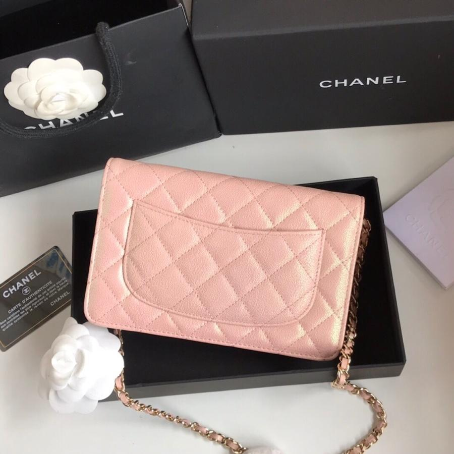 Top Quality Chanel Woc Wallet On Chain Iridescent Grained Lambskin Gold-Tone Metal Pink AP0315